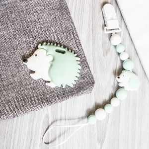 Green Hedgehog Teether, Non-Toxic Silicone Teether